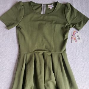Lularoe Solid Olive Green Amelia Dress